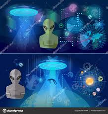 ufo banner kidnapping aliens in space secret files u2014 stock vector