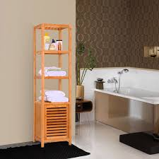 Bathroom Storage Cabinets Amazon Com Ollieroo 5 Tier Natural Bamboo Floor Cabinet Bathroom