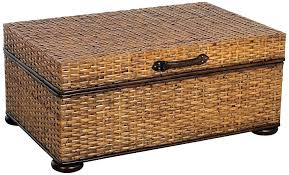 Seagrass Storage Ottoman Wicker Storage Ottoman With Reversible Tray Elegan Faux Leather