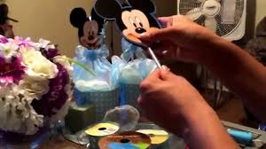 Mickey Mouse Baby Shower Corsage Mickey Mouse Baby Shower Center Piece For Boy And Baby Booties Made
