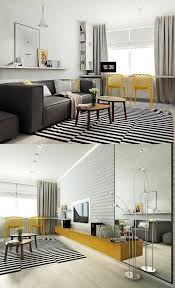Yellow Chairs Upholstered Design Ideas Scandinavian Living Room Design Ideas Striped Rug Upholstered Sofa