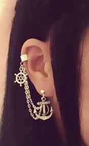 earrings with chain ear cartilage anchor and wheel cartilage chain earrings via etsy jewels