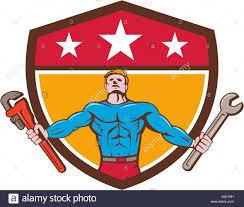 superhero handyman spanner wrench shield cartoon stock photo