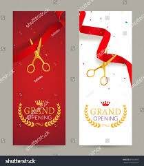Invitation Card Of Opening Ceremony Grand Opening Invitation Banner Red Ribbon Stock Vector 455263483