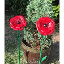 metal poppy garden ornament stake by fountasia ornaments home