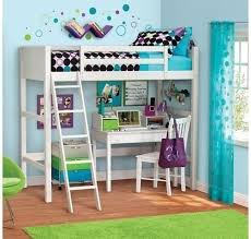 Amazoncom Your Zone Twin Wood Loft Style Bunk Bed Kitchen  Dining - Loft style bunk beds