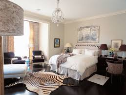 Modern Bedroom Rugs by Bedroom Zebra Rug With Dark Wood Floors And Contemporary Curtains