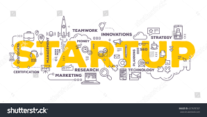 vector creative illustration business startup word stock vector