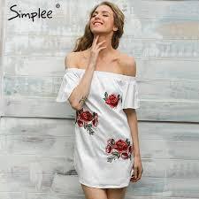 Simplee Off shoulder flower print beach dress women Elegant flare