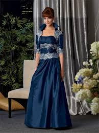 line long navy blue taffeta mother of the bride dress with jacket