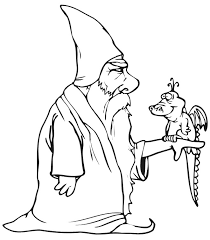 bookmark magician wizard coloring pages outline picture