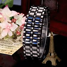 mens bracelet digital images Makibes lava watch men watch stainless steel led blue digital watch jpg