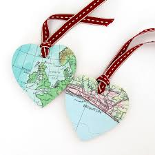 Heart Map Personalised Wooden Heart Map Decoration Posh Totty Designs