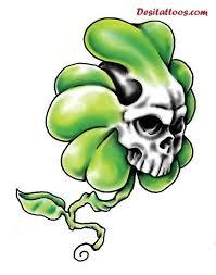 white ink skull green shamrock tattoo golfian com