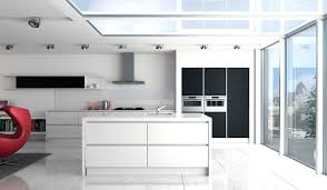 kitchen white cabinets quartz countertops modern vent hood grey