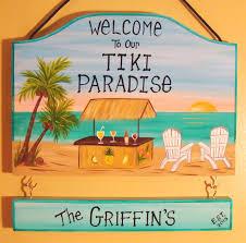 hand painted designed custom tiki bar tropical paradise beach