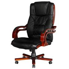 Leather Desk Chair by Black Real Leather Office Chair High Back Vidaxl Com