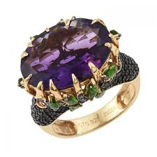 gemstones silver rings images Sterling silver rings polished african amethyst russian diaopside jpg