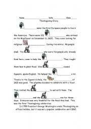 worksheet thanksgiving history cloze 1