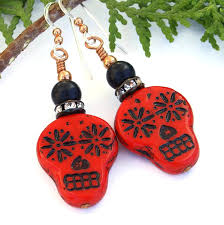 red black sugar skull earrings day of the dead halloween jewelry