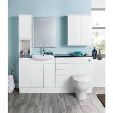 Fitted Bathroom Furniture White Gloss Wickes Hertford White Gloss Fitted Vanity Unit 600 Mm Wickes Co Uk