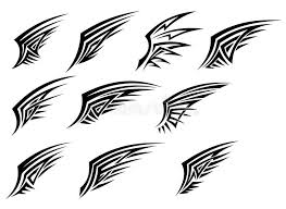 set of black tribal wing tattoos stock vector illustration of