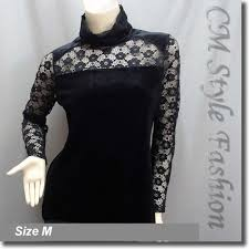 through lace sleeves turtleneck velvet blouse top black