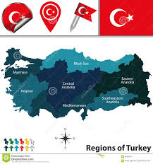 Map Turkey Map Of Turkey With Regions Stock Vector Image 90589221