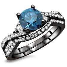 black wedding sets blue topaz cubic zirconia 2 ring set in 14k black gold