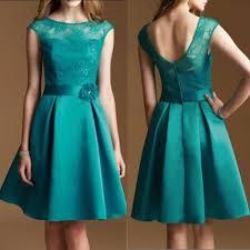 cheap bridesmaid dresses junior cap sleeve lace top satin teal green knee length