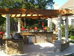 awesome outdoor kitchen design in pergola kits with stone