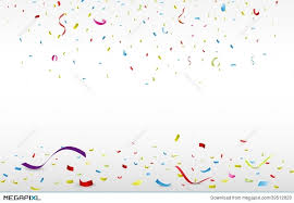 colorful ribbon celebration with colorful ribbon and confetti illustration