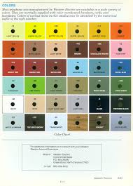 western electric products telephones color charts chart 1