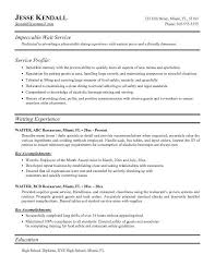 Food Service Sample Resume by Neoteric Sample Server Resume 9 Food Service Waitress Waiter