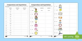 comparatives and superlatives worksheet comparative sheet