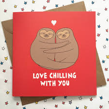 sloth valentines day card sloth wedding anniversary card by ladykerry illustrated gifts