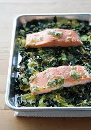 easy salmon with crispy cabbage and kale popsugar food