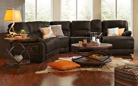 Leather Sofa In Living Room by The Wyoming Collection Saddle Brown American Signature Furniture
