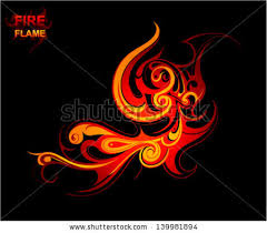 tribal ornament flames smoke stock vector 284876066