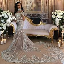 luxury sparkly 2017 wedding dress sheer bling beaded lace