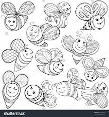 bees coloring page hand drawn stock illustration 421850572