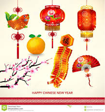 Happy New Year Decorations Happy Chinese New Year Decoration Set Stock Vector Image 48427655