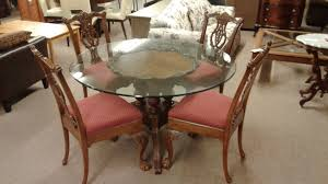 drexel glass top pedestal table w 4chairs delmarva furniture