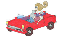 cartoon convertible car cartoon lady in a red convertible car stock illustration