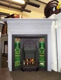 antique edwardian cast iron tiled combination fireplace