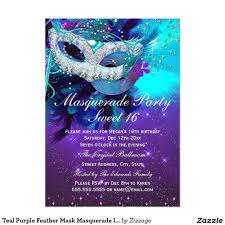 Sweet 16 Invitations Cards Teal Purple Feather Mask Masquerade Invitation By Zizzago Com