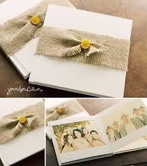 burlap photo album wedding album 8 8 white linen with burlap belt eileen