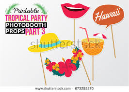 printable photo booth props summer set printable tropical party photo booth stock vector 2018