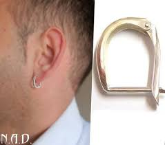 mens earrings single mens earring sterling silver oval hoop earring for men
