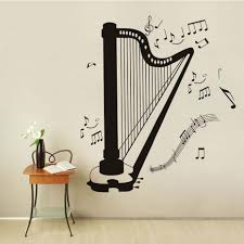 online shop self adhesive diy home decor harp silhouette all kind